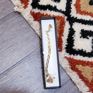Macys Gold Plated Diamond Heart Bracelet